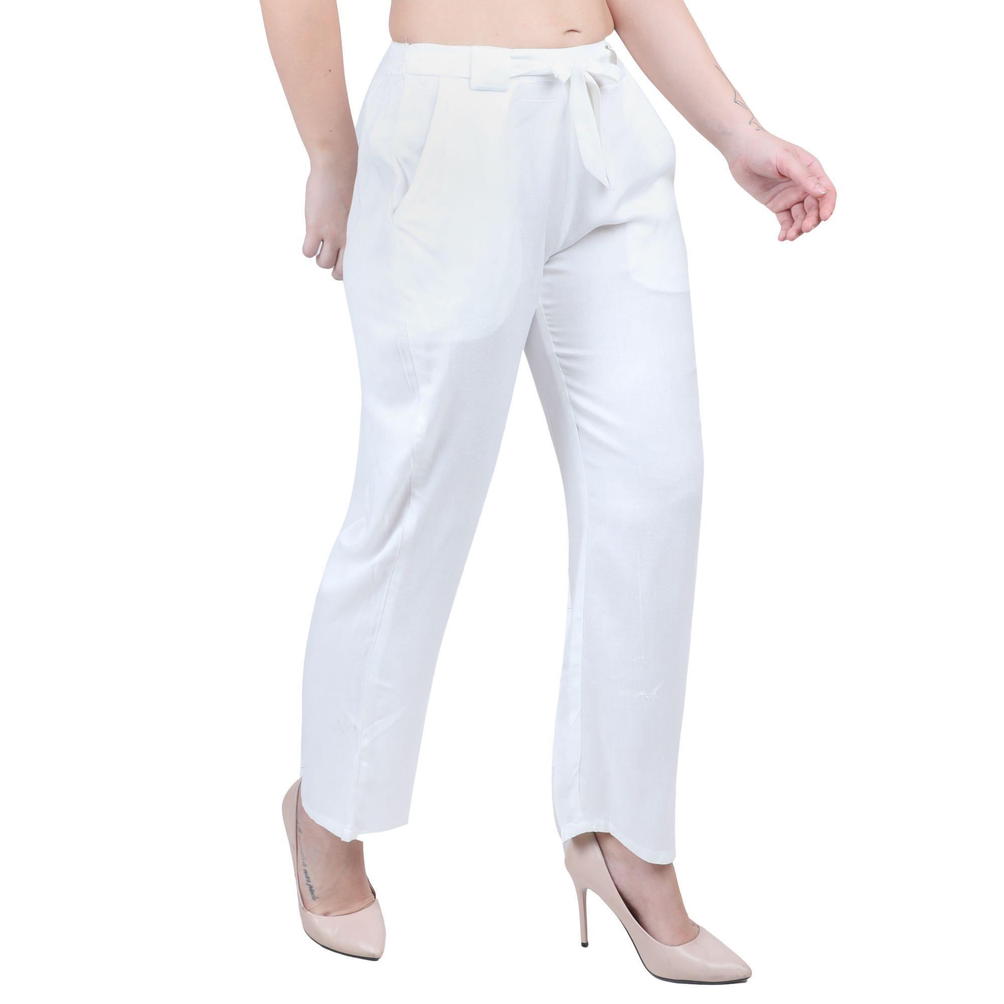 Western Fit Formal Trousers in White