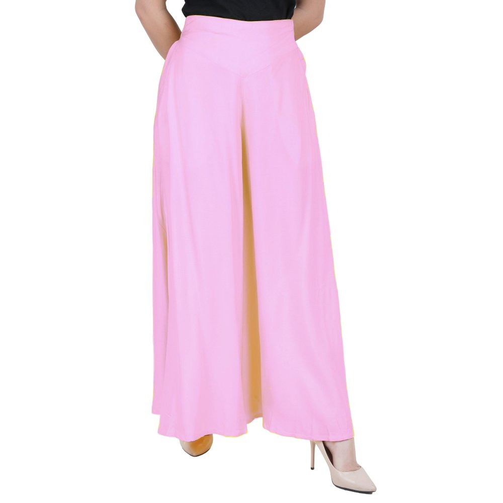 Wide Leg Loose Fit Palazzo Pant in Baby Pink