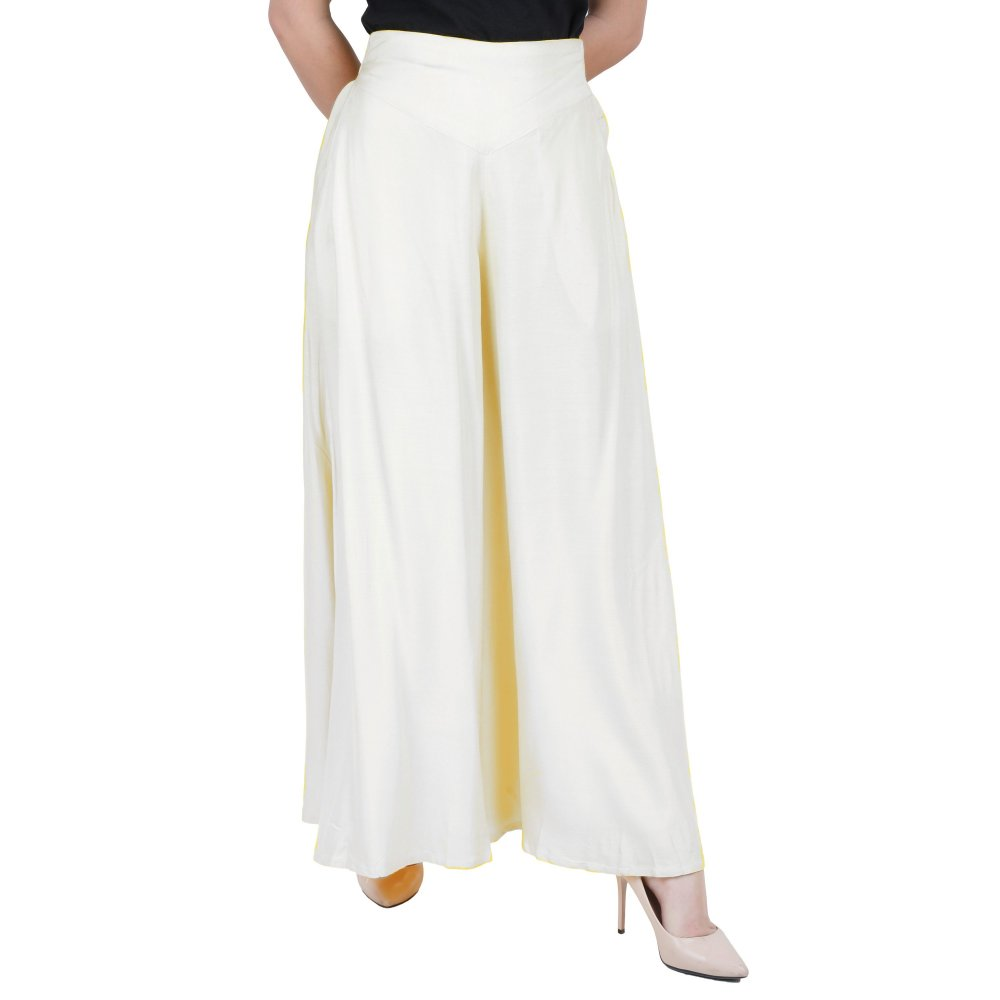 Wide Leg Loose Fit Palazzo Pant in White