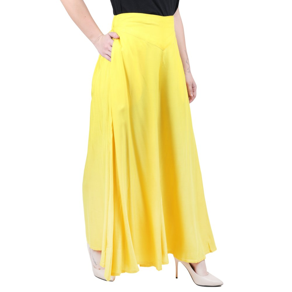 Wide Leg Loose Fit Palazzo Pant in Yellow
