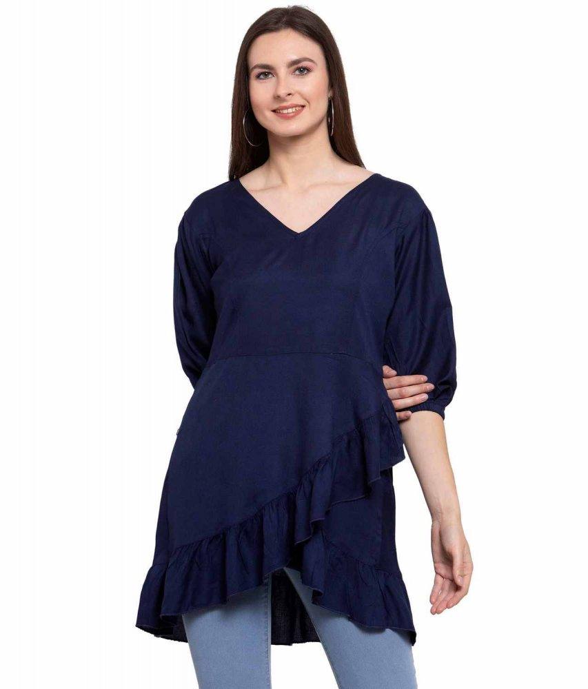Wrap Batwing Sleeve Top in Dark Blue