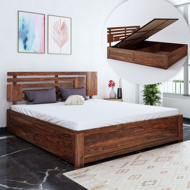 Borneo Sheesham Wood Queen Size Bed With Hydraulic Storage