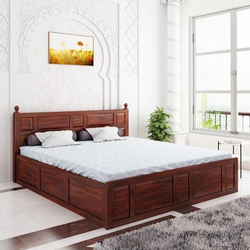 Imperial Sheesham Wood Queen Size Bed With Box Storage