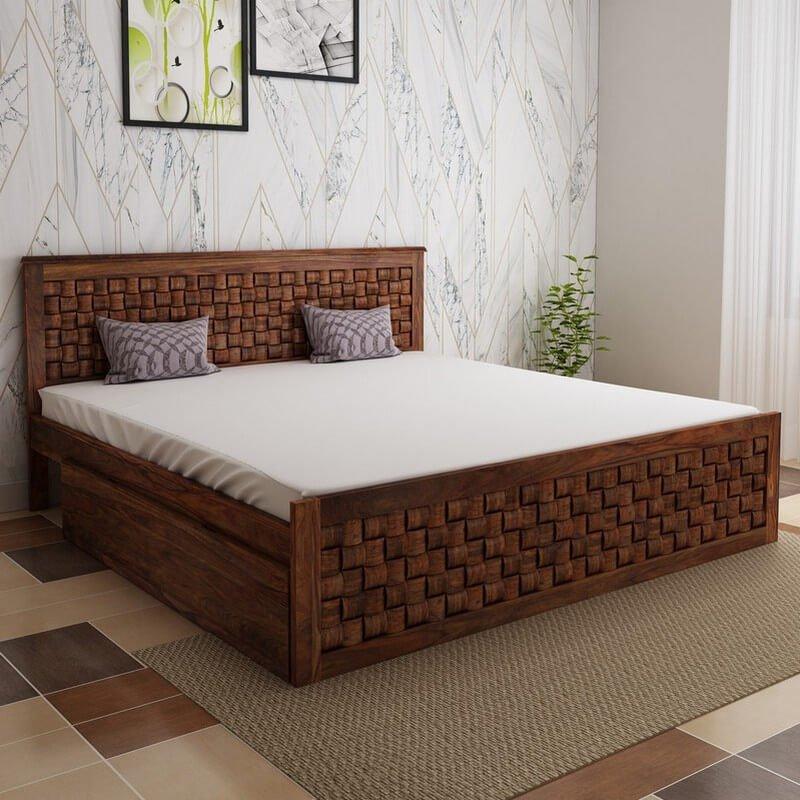 Flamingo Sheesham Wood King Size Bed With Side Drawer