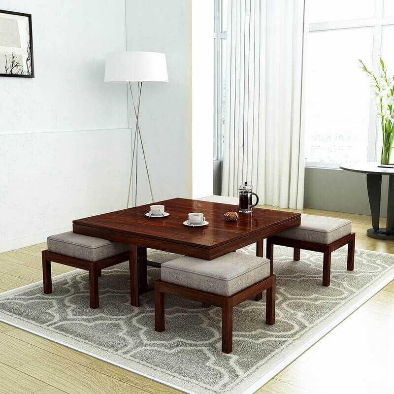 Timor Sheesham Wood Center Table With 4 Stools