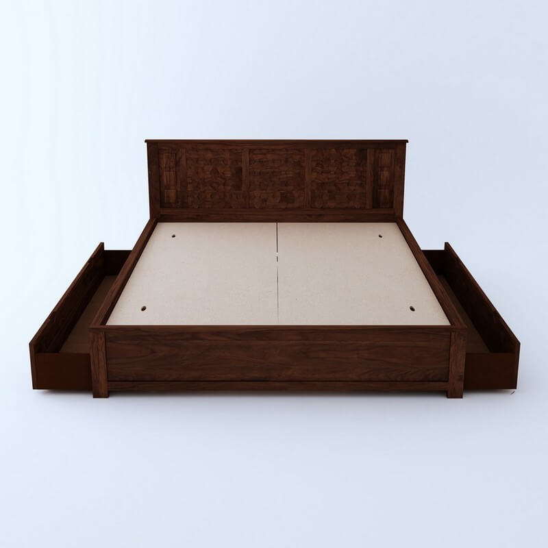 Marwar Sheesham Wood King Size Bed With Side Drawer