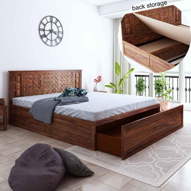 Marwar Sheesham Wood Queen Size Front Drawer Storage Bed