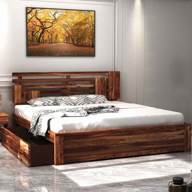 Borneo Sheesham Wood king Size Bed With Side Drawer