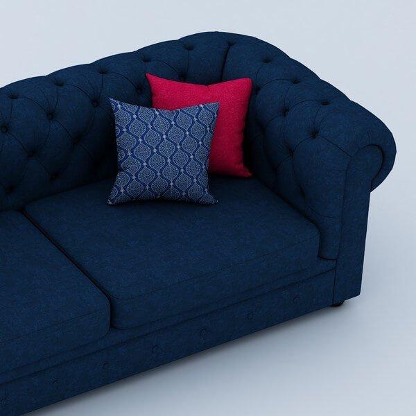 Windsor 3 Seater Sofa Set In Dark Blue Color