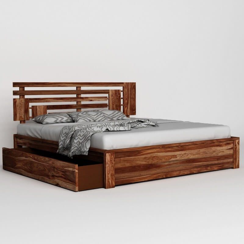 Borneo Sheesham Wood Queen Size Bed With Side Drawer