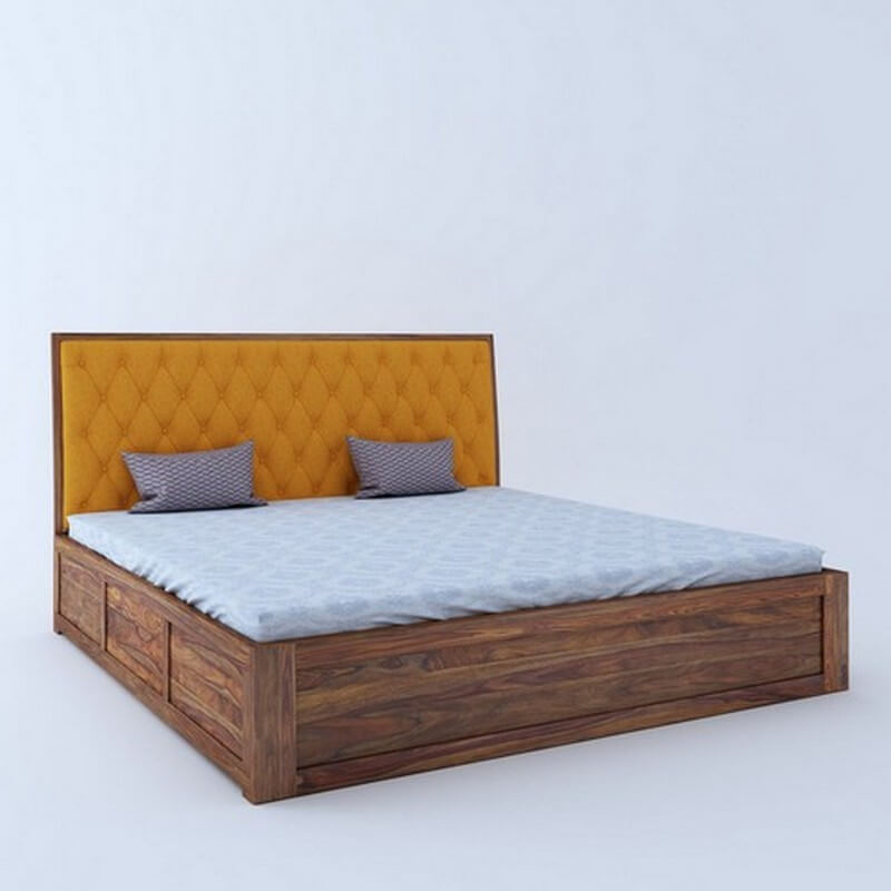 Aria Cushioned Sheesham Wood King Size Bed With Front Storage
