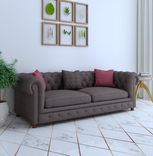 Windsor 3 Seater Sofa Set In Brown Color