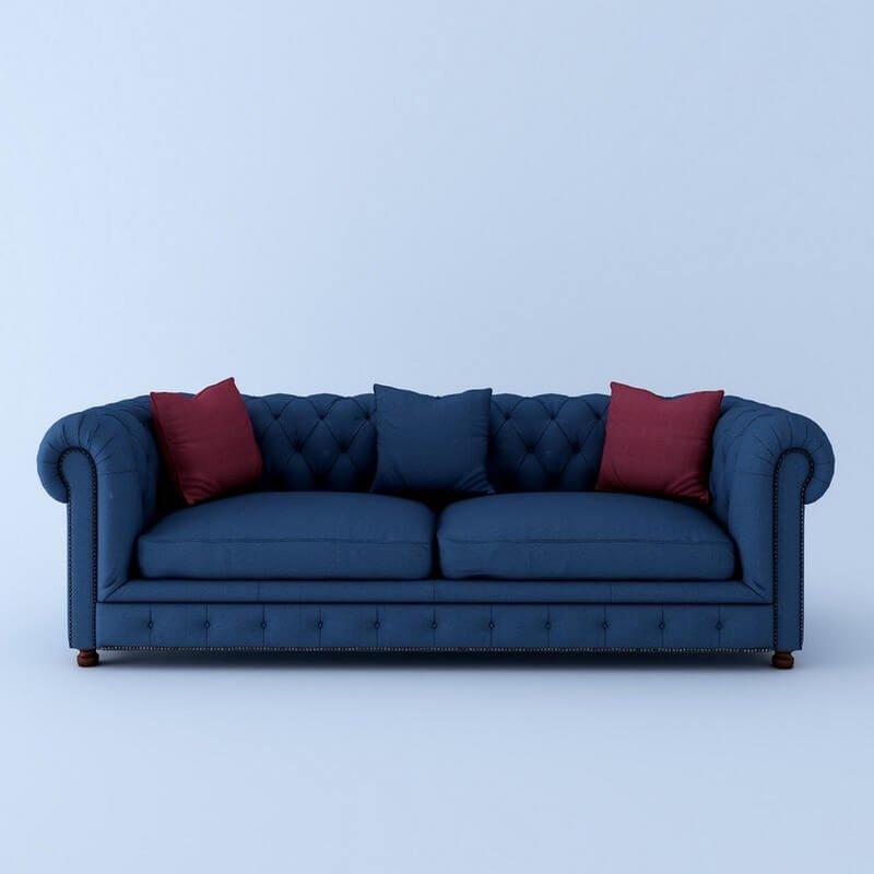 Windsor 3 Seater Sofa Set In Blue Color
