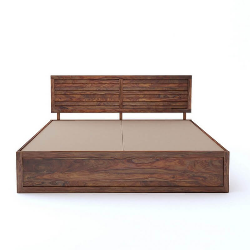 Tahura Sheesham Wood Queen Size Bed With Front Storage