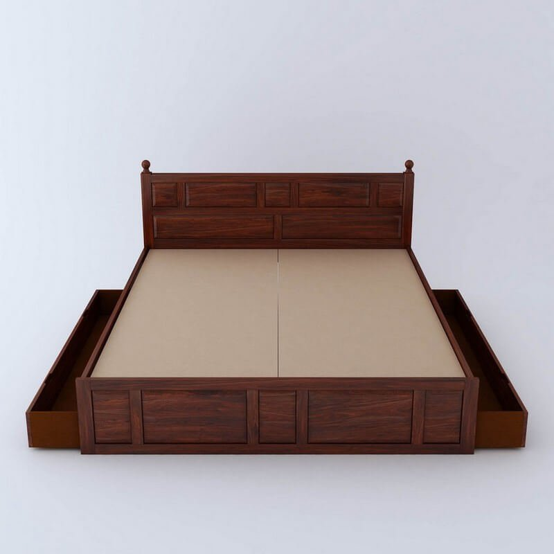 Imperial Sheesham Wood King Size Bed With Side Drawer