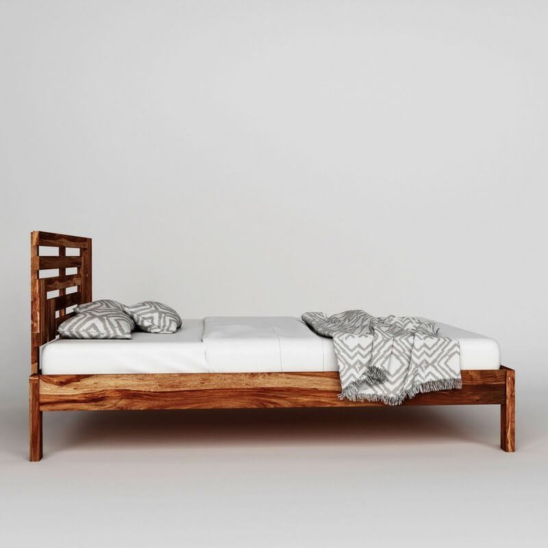 Borneo Sheesham Wood Queen Size Bed Without Storage