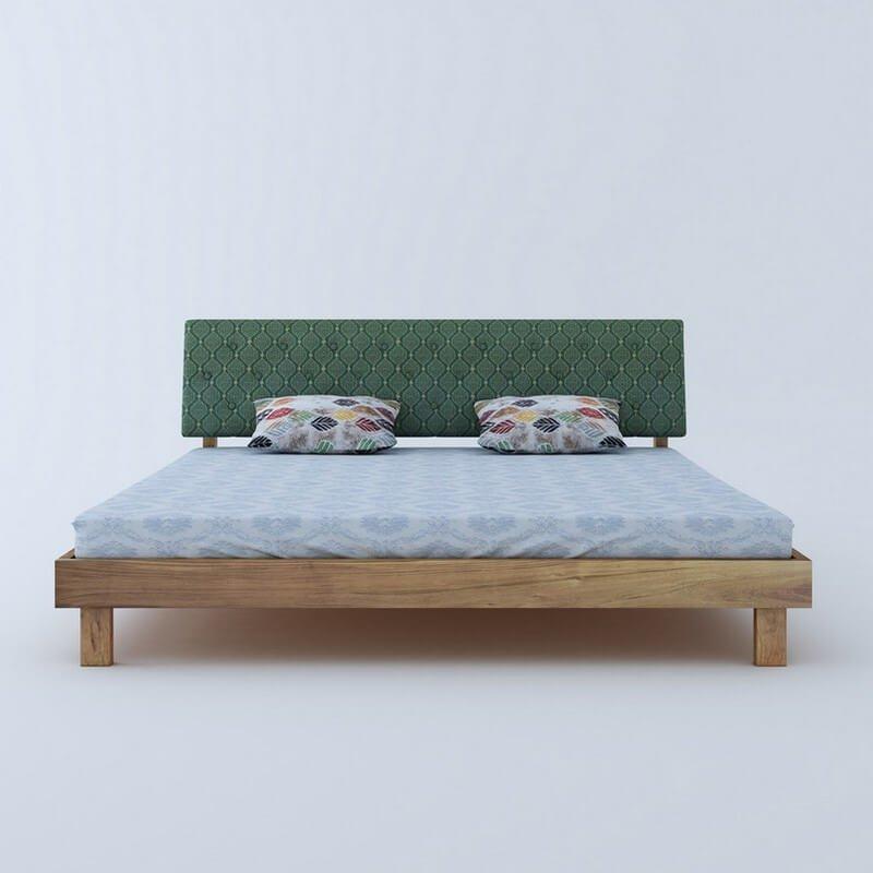 Rota Green Sheesham Wood Queen Size Bed