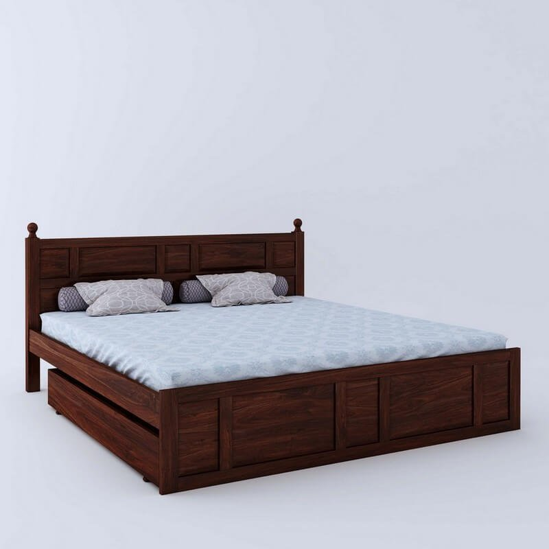Imperial Sheesham Wood Queen Size Bed With Side Drawer