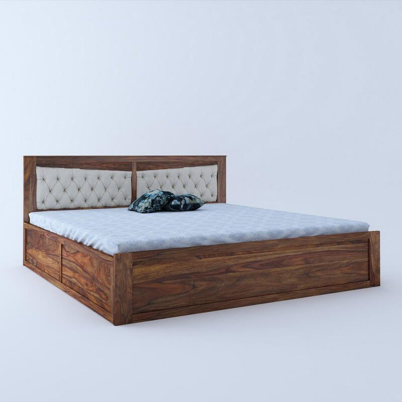 Spanish Sheesham Wood Queen Size Bed With Front Drawer