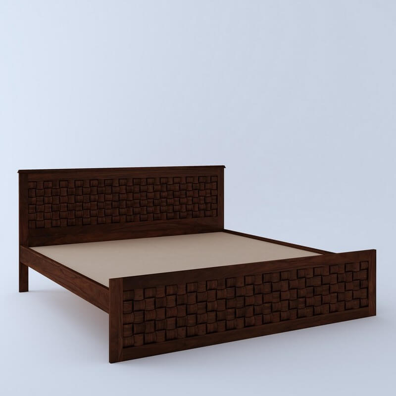 Flamingo Sheesham Wood Queen Size Bed Without Storage