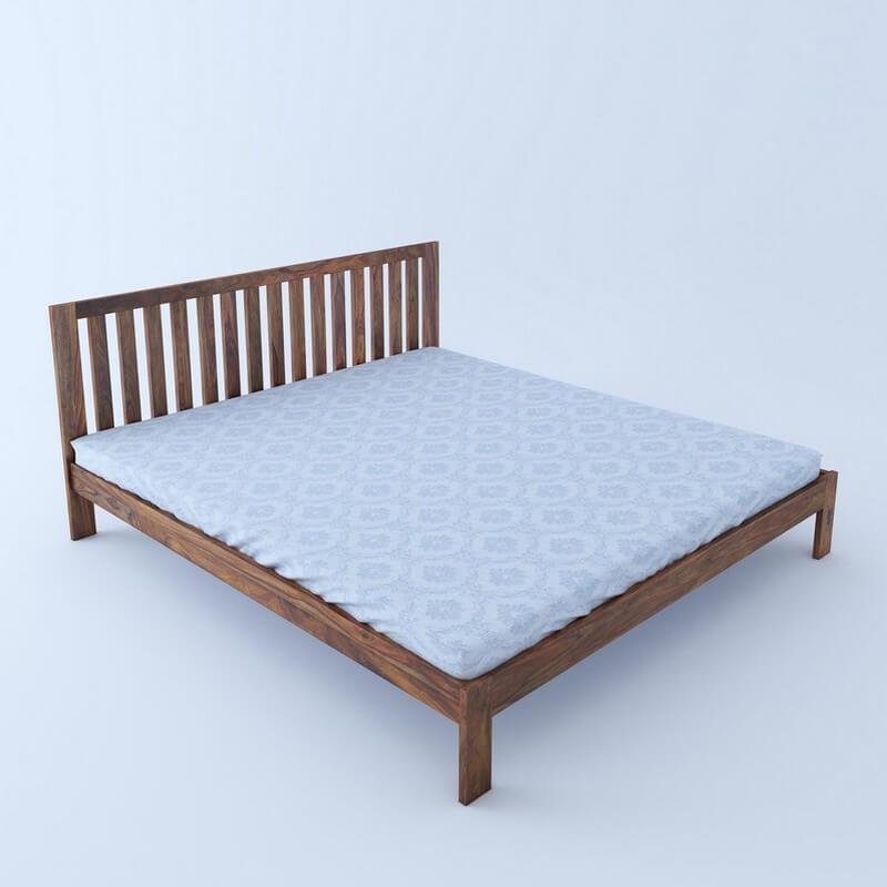 Caviar Sheesham Wood King Size Bed Without Storage