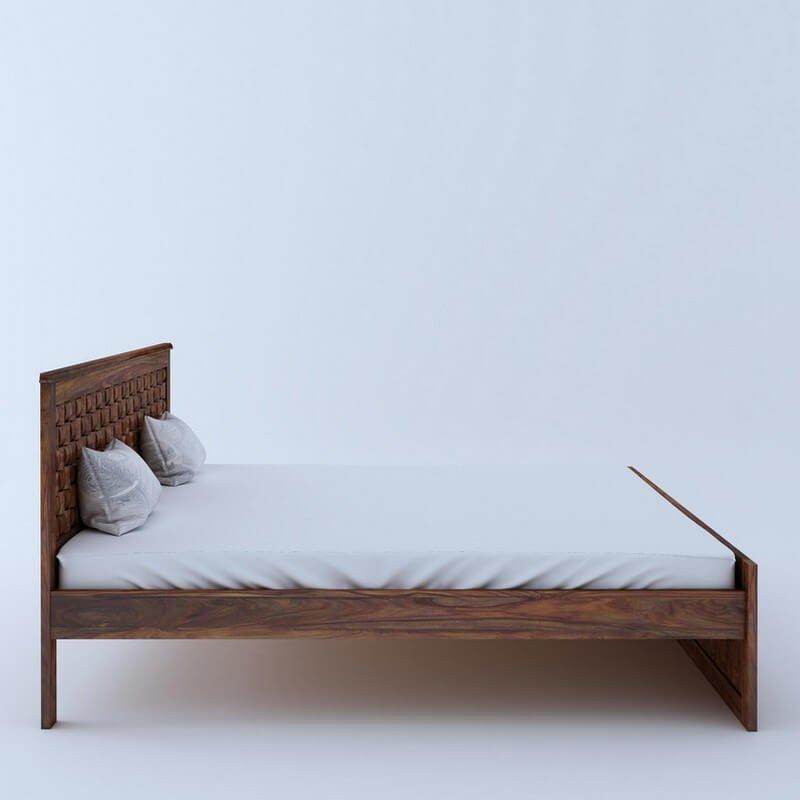 Flamingo Sheesham Wood King Size Bed Without Storage