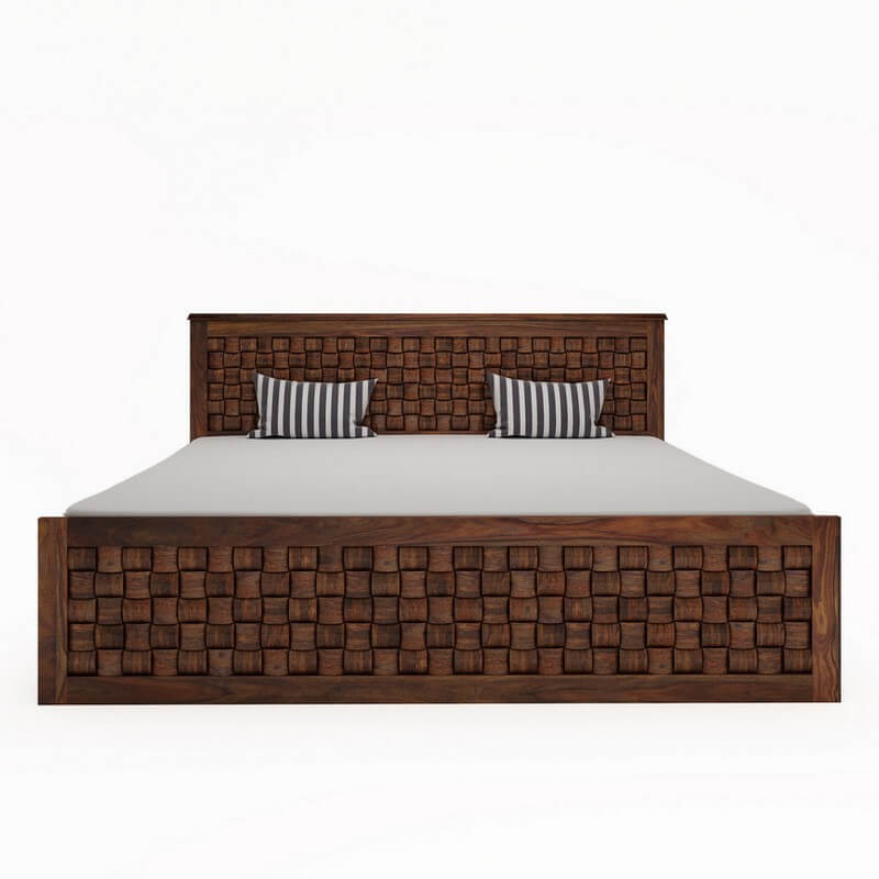 Flamingo Sheesham Wood Queen Size Bed With Side Drawer