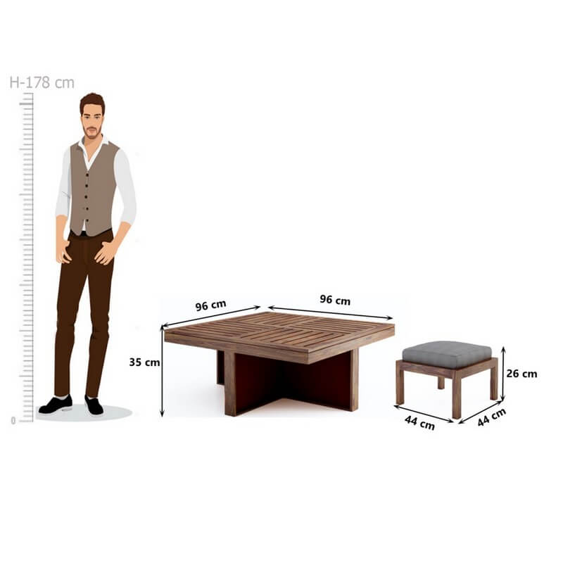 Grande Table With 4 Stools