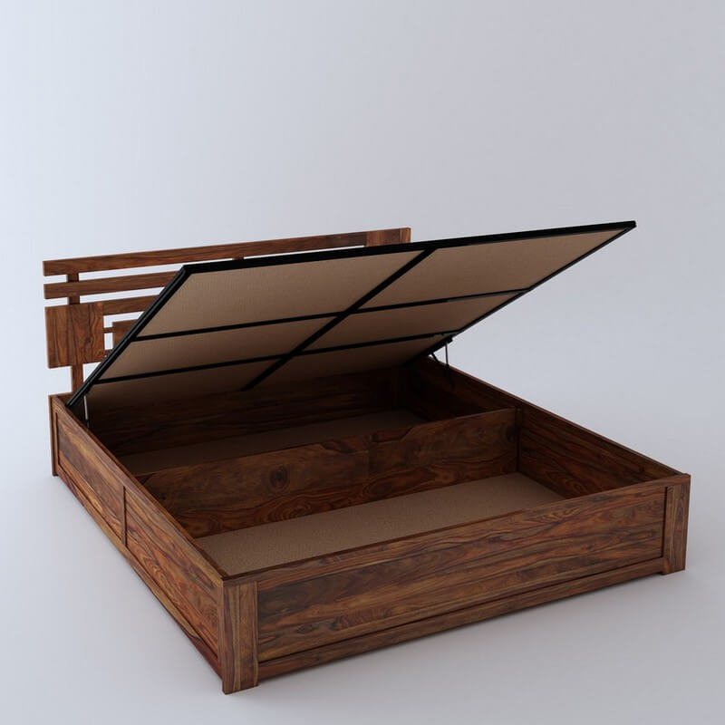 Borneo Sheesham Wood King Size Bed With Hydraulic Storage