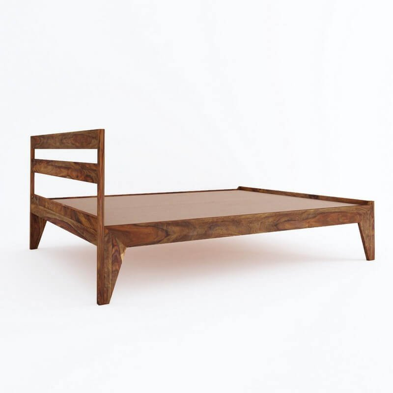 Seoul Sheesham Wood Queen Size Bed Without Storage