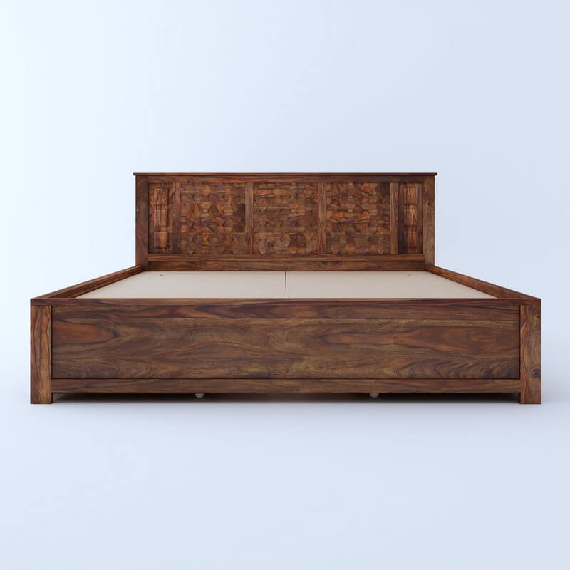 Marwar Sheesham Wood Queen Size Bed With Side Drawer