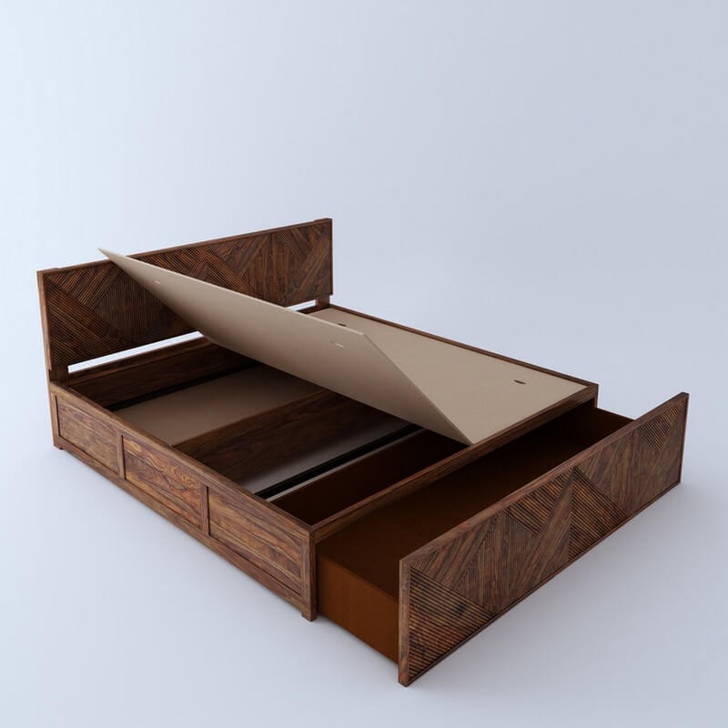 Estonia Sheesham Wood Queen Size Bed With Front Storage
