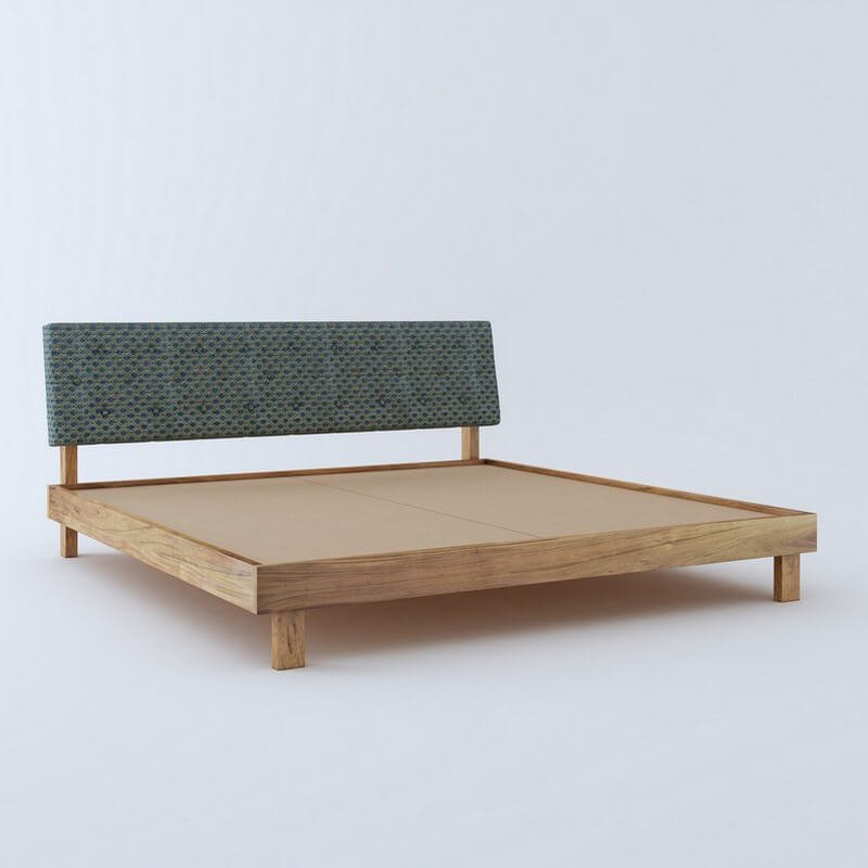 Rota Blue Sheesham King Size Bed Wooden