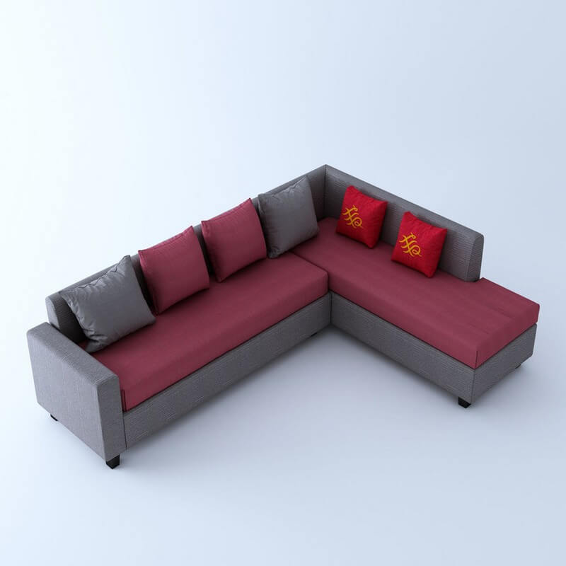Kodiak L Shape 5 Seater Sofa Set In Pink and Grey Colour