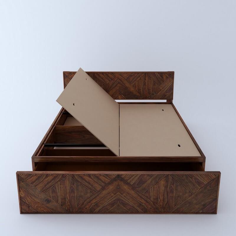Estonia Sheesham Wood King Size Bed With Front Storage