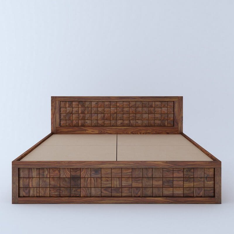 Diamond Sheesham Wood Queen Size Bed With Front Storage