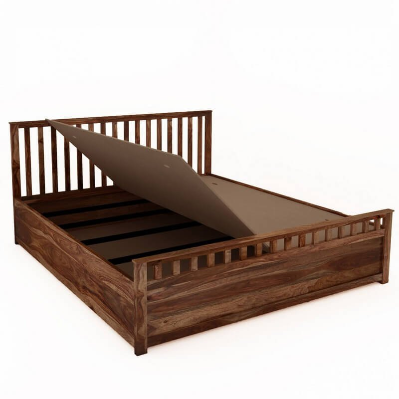 Manor Sheesham Wood Queen Size Bed With Box Storage