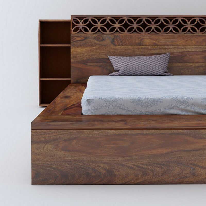 Paragon Sheesham Wood Queen Size Bed Without Storage