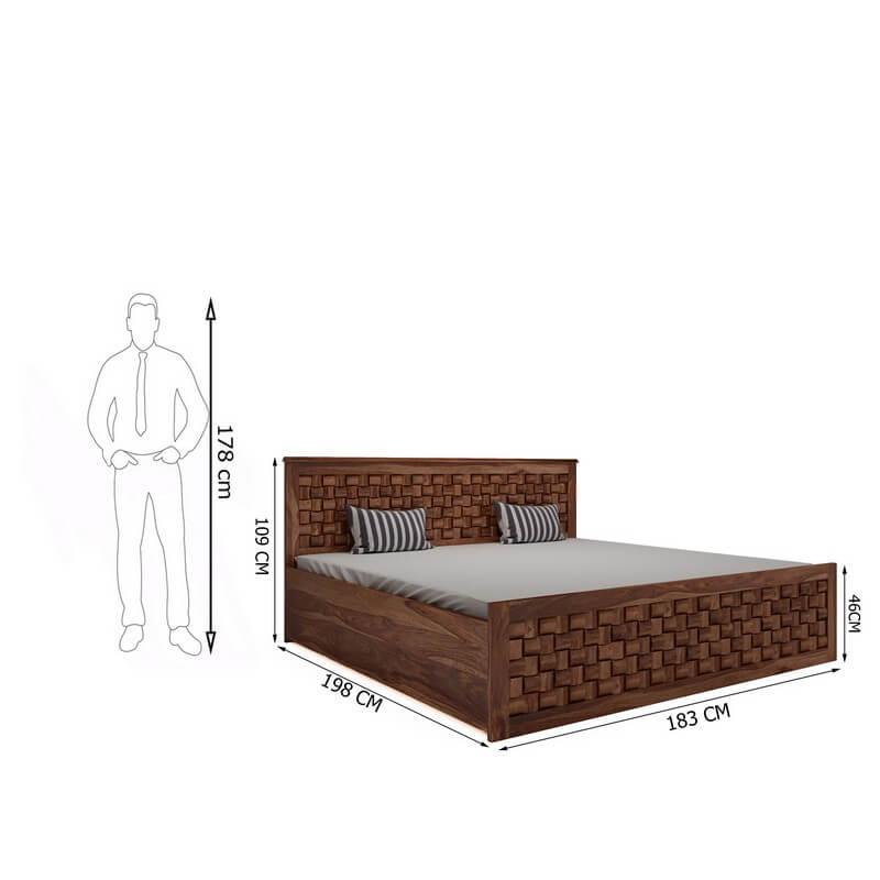 Flamingo Sheesham Wood King Size Bed With Hydraulic Storage