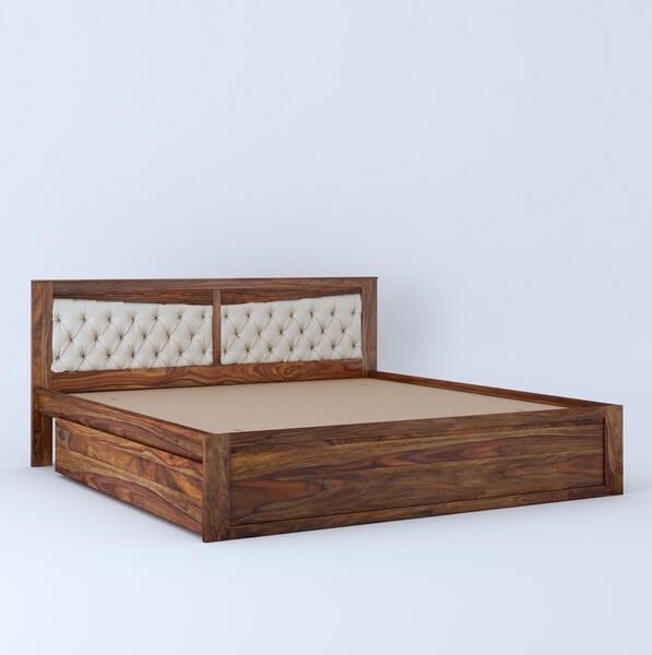 Spanish Sheesham Wood Queen Size Bed With Side Storage