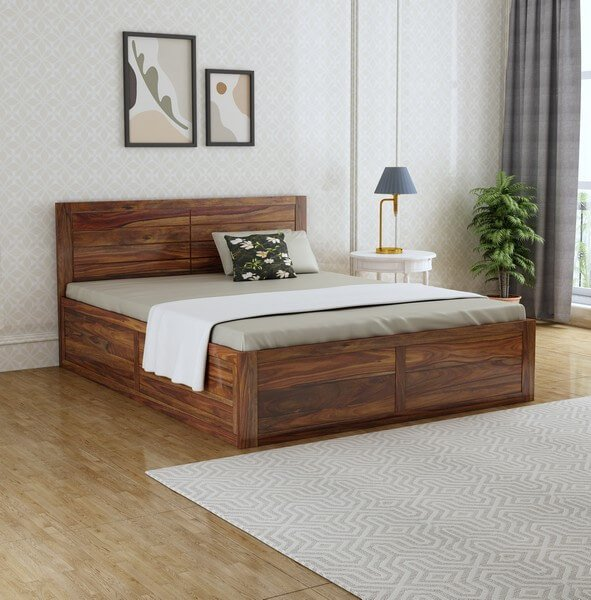 Manila Sheesham Wood Queen Size Bed With Box Storage