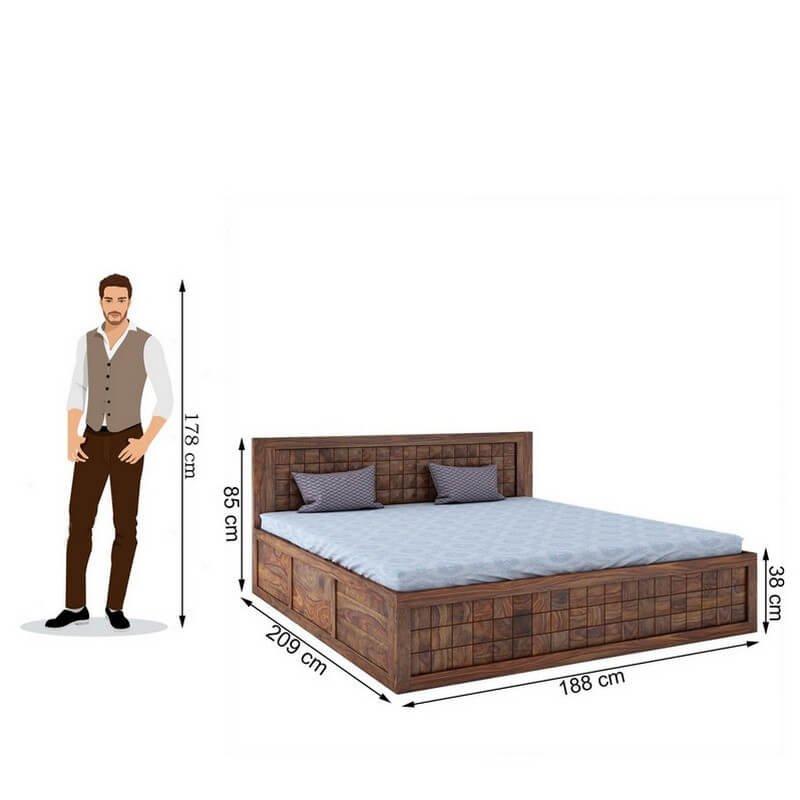 Diamond Sheesham Wood King Size Bed With Front Storage
