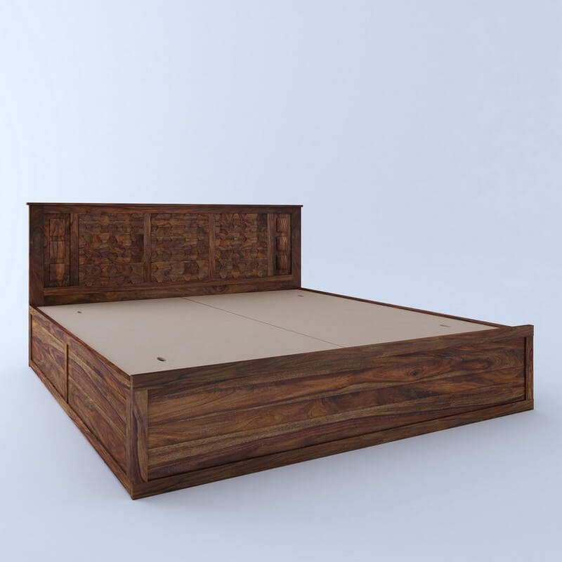Marwar Sheesham Wood King Size Bed With Storage
