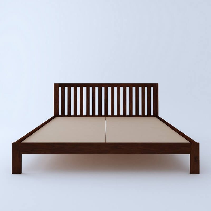 Caviar Sheesham Wood Queen Size Bed Without Storage
