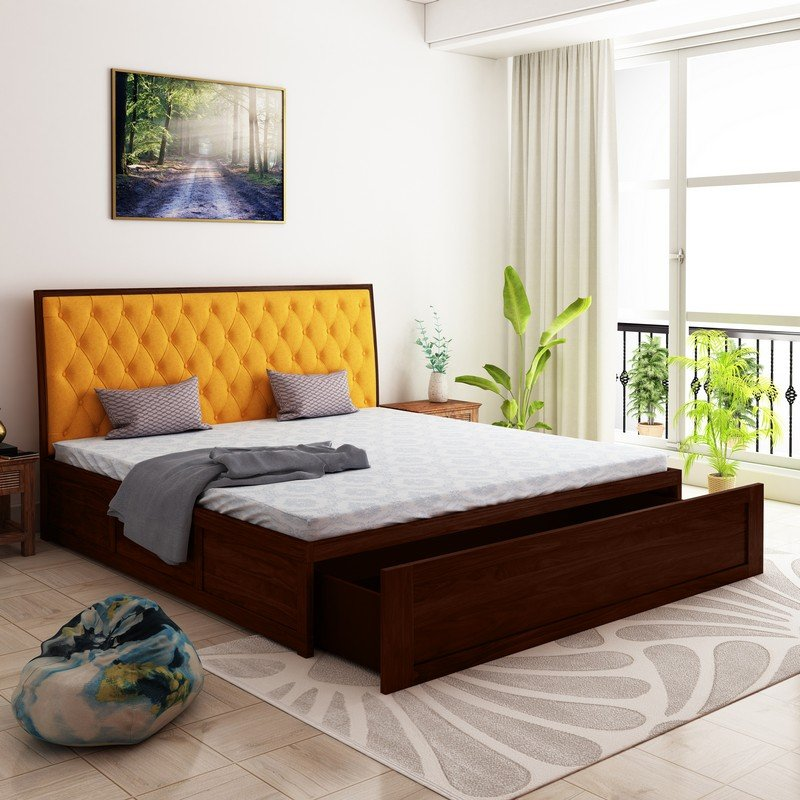 Aria Cushioned Sheesham Wood Queen Size Bed With Front Storage