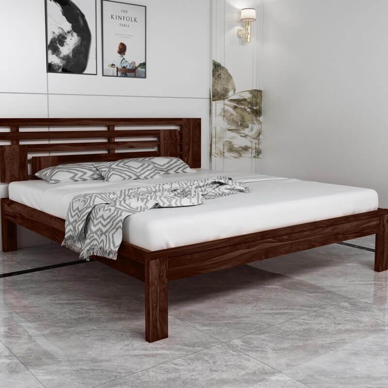 Borneo Sheesham Wood King Size Bed Without Storage