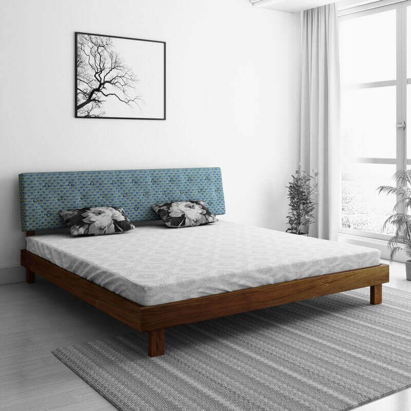 Rota Blue Sheesham Queen Size Bed Wooden