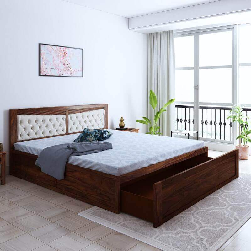 Spanish Sheesham Wood King Size Bed With Front Drawer