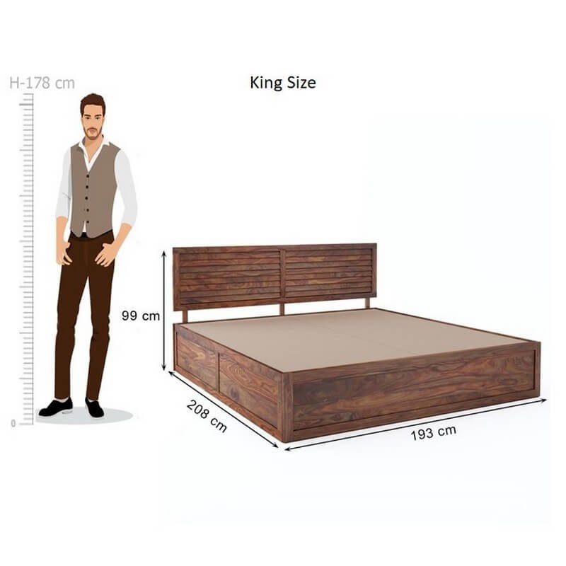 Tahura Sheesham Wood King Size Bed With Front Storage