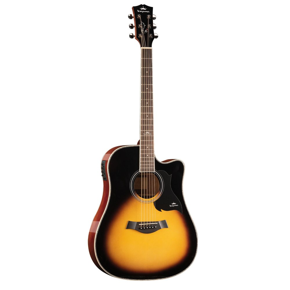 Kepma D1CE - Semi Acoustic Guitar- Sunburst Gloss